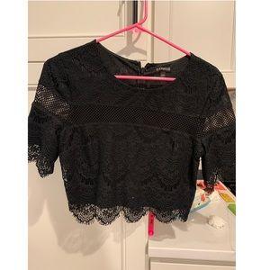 Black lace crop top- Express